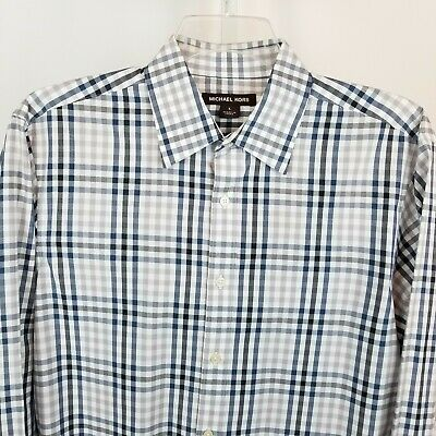 Michael Kors Button Front Shirt Mens Large Gray Blue Plaid Long Sleeves Cotton