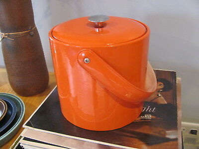 George Briard  Orange Insulated Ice Bucket Vinyl Covered Great Gift