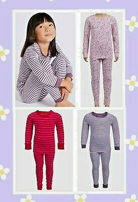 M&S Kids Girls Baby Cotton Pink Striped Dinosaur Long Pyjamas Pjs Set Nightwear