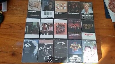"Lot of 15 Cassette Tapes '60s,'70s, Early ""80s Rock, Jazz, Soul ,country rock"