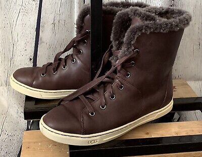 30c90e6ba87 WOMEN'S 7 UGG CROFT LUXE QUILT Brown Leather Sheepskin Lace Up Sneaker  Boots EXC