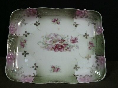 Antigue Made in Germany Elaborate Fine Porcelain Scalloped Pink Floral/Gold Tray