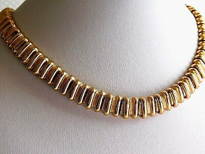 VTG MONET THICK HEAVY GOLD PLATED CHOKER CHAIN NECKLACE 80s RUNWAY MODERNIST D25