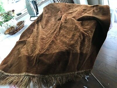 """ANTIQUE rust MOHAIR TABLE PANEL 34x56+3""""+hand knotted fringe EXCELLENT CONDITION"""