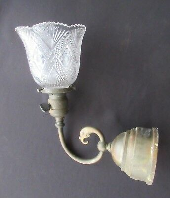 Antique Brass Wall Sconce w/Clear Glass Shade & GE Fatboy Socket      FX224