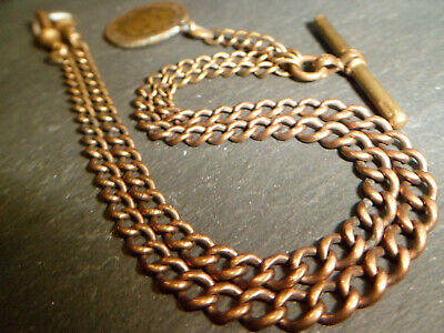 18ct Ex Rolled Gold Double Albert Pocket Watch Chain & King Edward 1916 Coin Fob