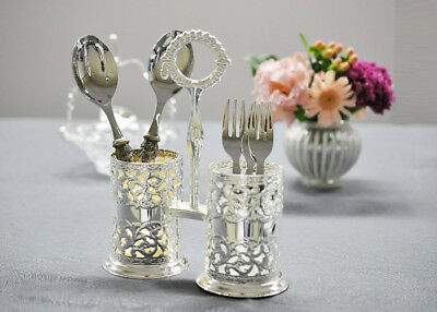 Queen Anne Silver Plated Double Cutlery Holder-Tarnish Resistant Made in UK Gift