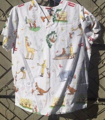 2e5138c7998 Curious George Goes to the Zoo Medical Dental Scrub Top V Neck XL Women's