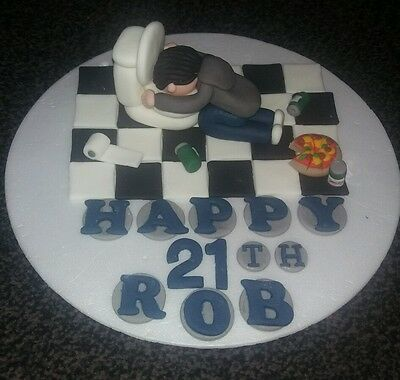 Edible Handmade Mens Birthday Cake Topper 18th 21st 30th