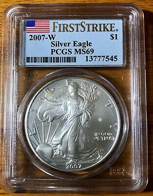 2007 W Burnished American Silver Eagle PCGS MS69 Early Releases West Point (545)
