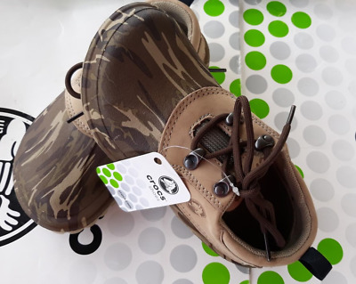 bc3f9302e CROCS AXLE CAMO ALL TERRAIN BOAT WATERPROOF KIDS SHOE~Brown~Junior 2 ...
