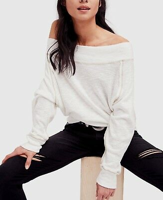 30e1732fee4baf NWT FREE PEOPLE SzL PALISADES OFF THE SHOULDER LONG SLEEVE THERMAL TOP IVORY