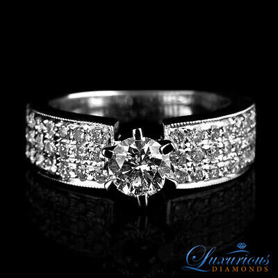 2.1 CT Bridal Diamond Ring F VS Round Cut Accented Solitaire Size 5 6 7
