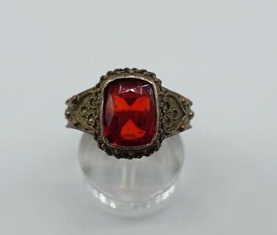 ancient Chinese? Asian Red stone size adjustable silver signed very old estate