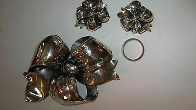 Big MONET Ribbon BOW Pin & EARRING STERLING SILVER SET BROOCH 925 Glamour 1950s