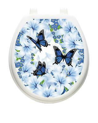 Toilet Tattoos LILY BLUES Toilet Lid Cover Vinyl Cover Removable Hygienic