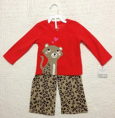 NWT Carters Cat Leopard Two Piece Set Fleece Pajamas Toddler Girls Size 2T