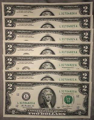 7 New Crisp Uncirculated 2 Two Dollar Bills 2013 - Six Mint Notes From San Fran