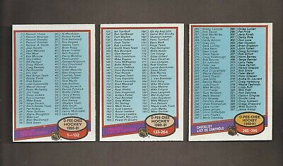 1980-81 🔥 OPC UNMARKED Checklists Lot (3) 🔥 O Pee Chee NM-MT Hockey Cards