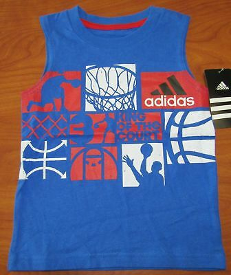 New Adidas Toddler Boys Blue King Of The Court Basketball Tank Top Sz 2T 6