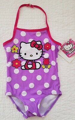 New Girls Hello Kitty Swimsuit One Piece Purple Pink Size 6