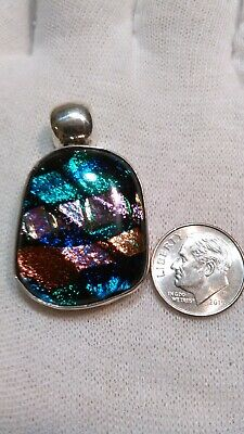 Vintage Sterling Silver & Handmade Dichroic Glass Pendant