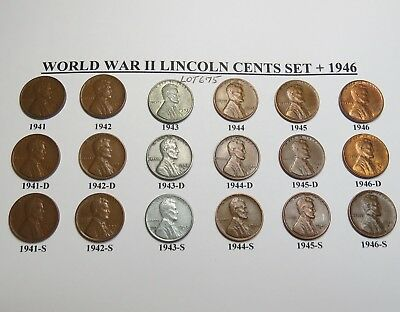 1941 42 43 44 45 46 Pds Lincoln Wheat Cent Set  Lot Of 18  - World War 2 ~ 675