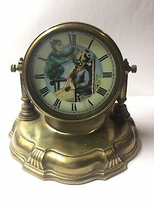 Antique Style Brass Automaton Barbershop Clock Monkey Shaving a Man.