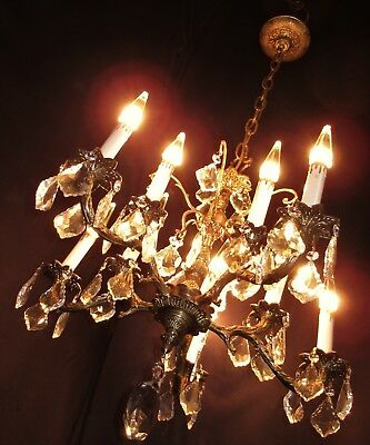 VTG DECO FRENCH CAST GLASS CRYSTALS 10 BULBS CHANDELIER CEILING FIXTURE 1950's