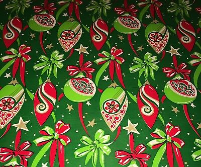 Vtg Christmas Wrapping Paper Gift Wrap 1960  Shiny Brite Ornaments Red Green Nos