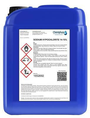 Sodium Hypochlorite 14-15% Patio Cleaner / Swimming Pool Chlorine - 5 Litre