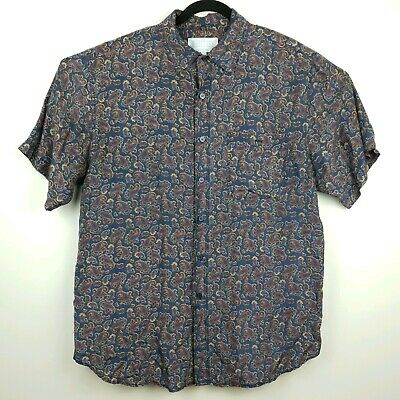 Whitby mens vintage washed silk size L button up short sleeve shirt