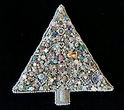 Unusual Vintage Jewelry Christmas Tree Wall Art Deco Rhinestones