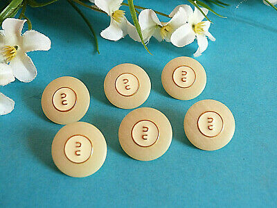 """1145/Chequerboard Buttons """" Monogram """" Paille Gold & Set of 6 Buttons Ép. 1970"""