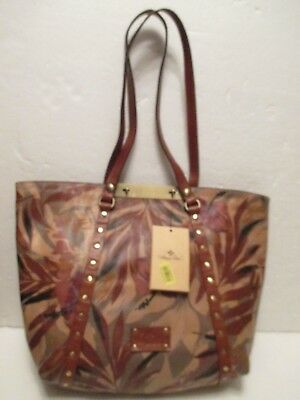 NEW Patricia Nash PALM LEAVES Leather Large Benvenuto Tote Handbag $249