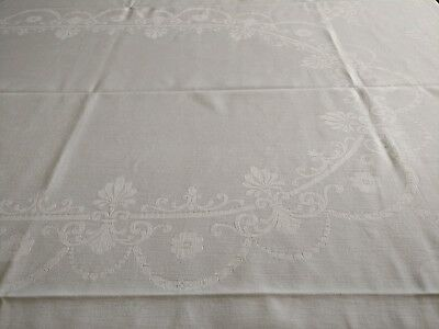 Vintage Tablecloth Double Damask Made in Northern Ireland 196 x 154cm Natural