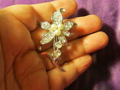 Vintage Classy Silver Tone Flower Brooch Pin with Faux Pearls & Rhinestones