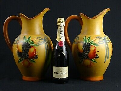Huge matched pair of Tuscan / Portugese Hand Painted Terracotta Pitchers