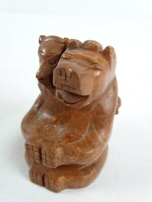 Vintage Canadian North West Coast Indian Jasper Stone Paperweight Bear Carving