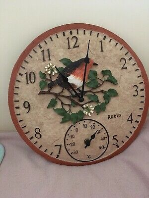 Lovely Robin Clock ideal for kitchen, conservatory or Garden Room