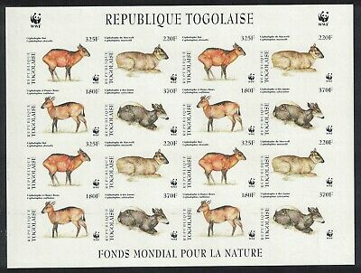 Togo WWF West African Duikers Imperforated Sheetlet of 4 sets MNH SC#1720 a-d