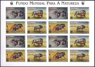 Mozambique WWF Blue Wildebeest Imperforated Sheetlet of 4 sets MNH SG#1542-1545