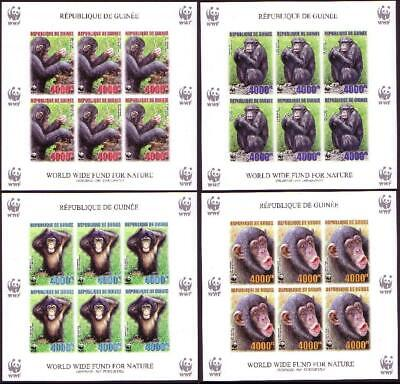 Guinea WWF Chimpanzee 4 imperforated Sheetlets of 6 stamps 6 sets MNH