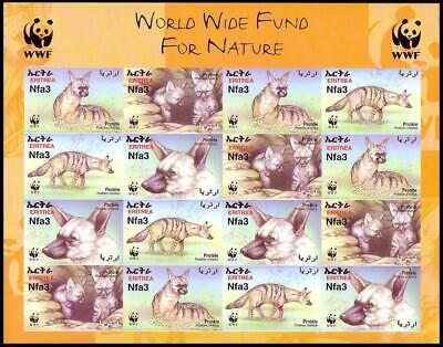 Eritrea WWF Aardwolf Imperforated Sheetlet of 4 sets MNH SG#488-491 SC#350 a-d