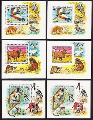 Guinea WWF-related endangered Wildlife 6 Miniature Sheets perf+imperf MNH