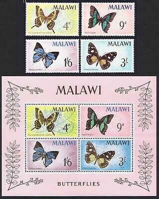 Malawi Butterflies 4v+MS issue 1966 MNH SG#247-MS251 SC#37-40