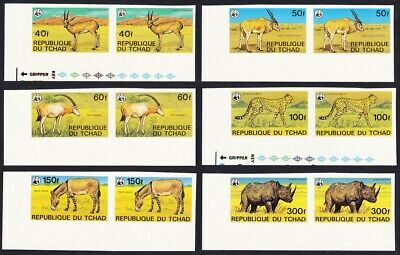 Chad WWF Endangered Animals 6v imperf Corner Pairs with margins MNH SG#555-560