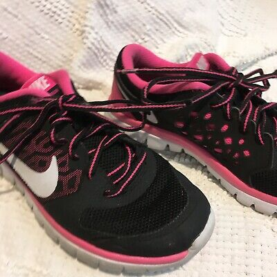 NIKE FLEX BIJOU Girls Running Shoes Hot Pink Blk Size 4 Y