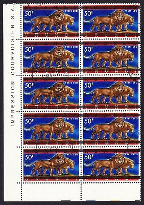 Burundi Lions Overprint on 50F Block of 10 cancelled SG#25