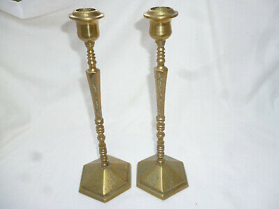 VINTAGE pair BRASS TALL CANDLE STICKS with attractive decoration - 27cm high